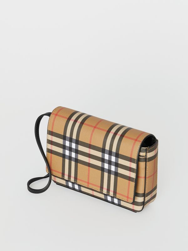 Vintage Check and Leather Wallet with Detachable Strap in Black - Women | Burberry Canada - cell image 2