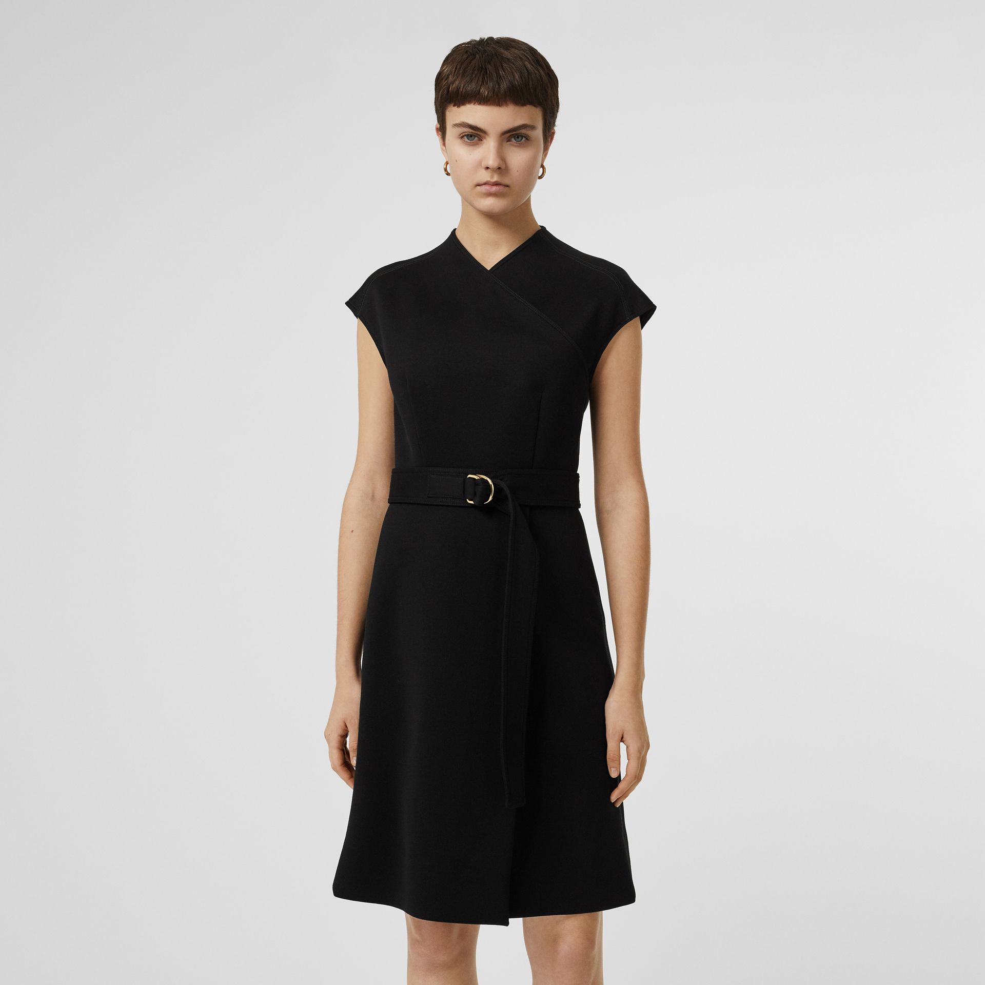 D-ring Detail Bonded Jersey Dress in Black - Women | Burberry - gallery image 5