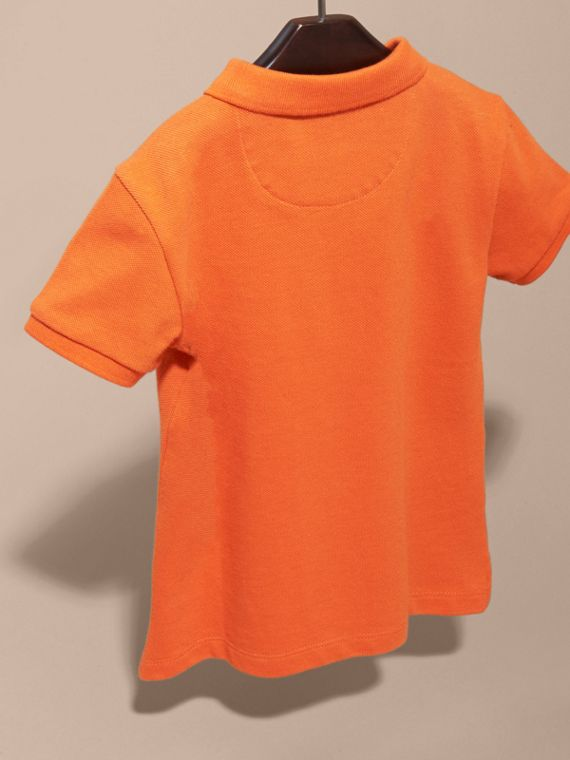 Check Placket Polo Shirt in Clementine - Boy | Burberry Singapore - cell image 3
