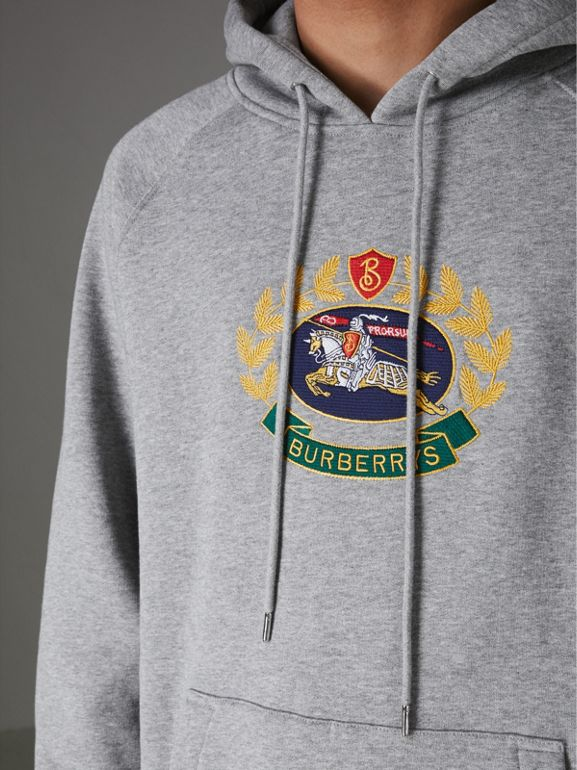Embroidered Archive Logo Jersey Hoodie in Pale Grey Melange - Men | Burberry - cell image 1