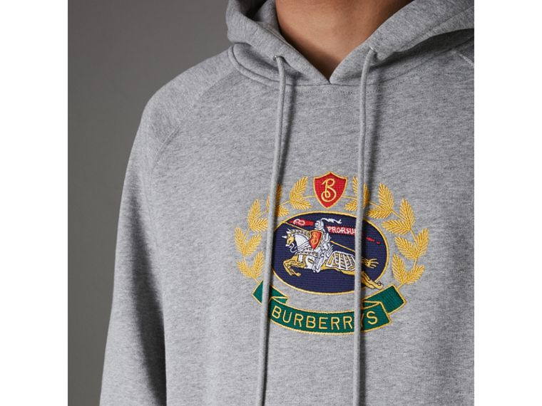 Embroidered Archive Logo Jersey Hoodie in Pale Grey Melange - Men | Burberry Hong Kong - cell image 1
