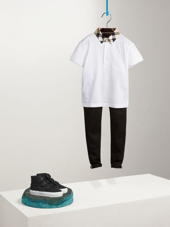 Check Collar Polo Shirt in White
