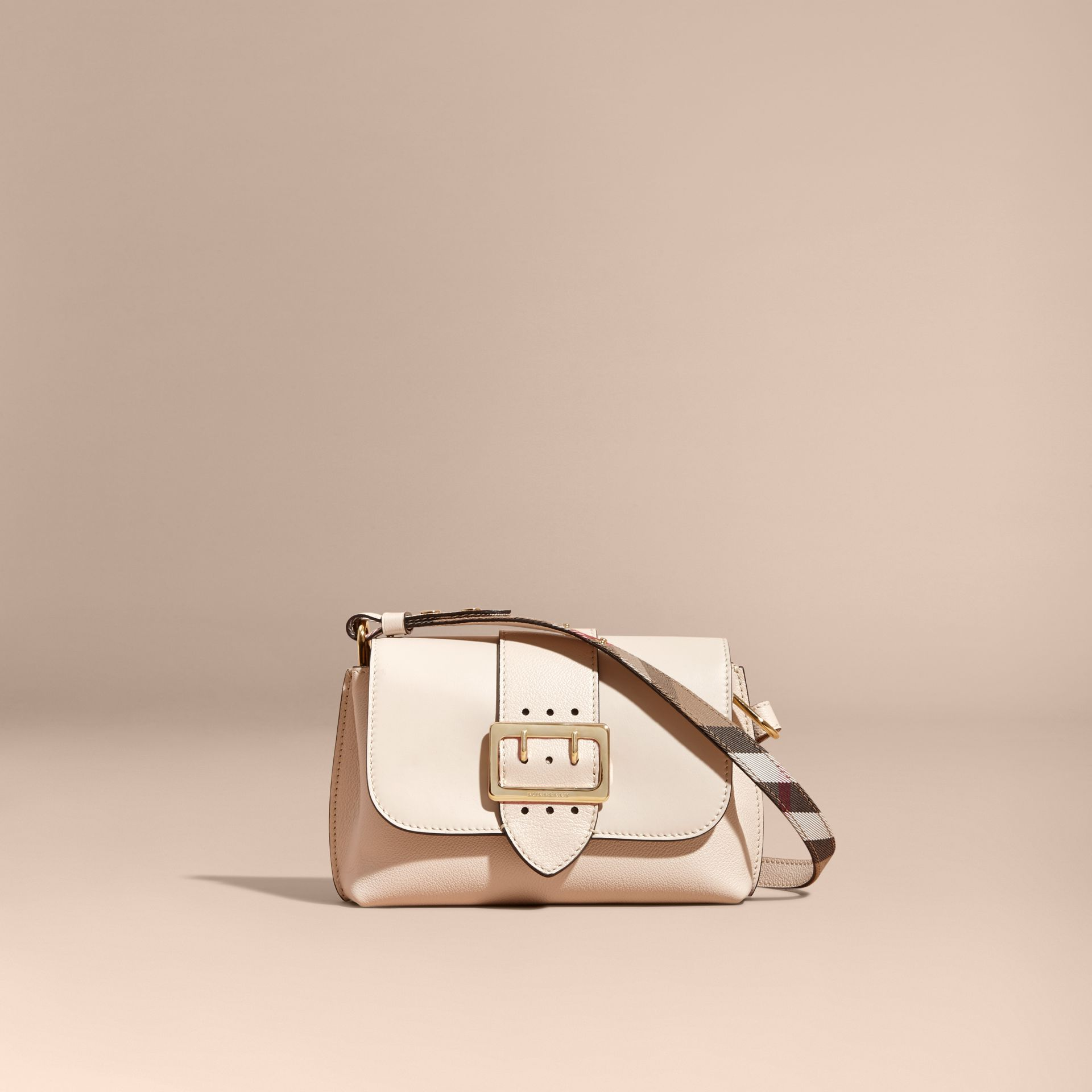 The Buckle Crossbody Bag in Leather in Limestone - gallery image 9