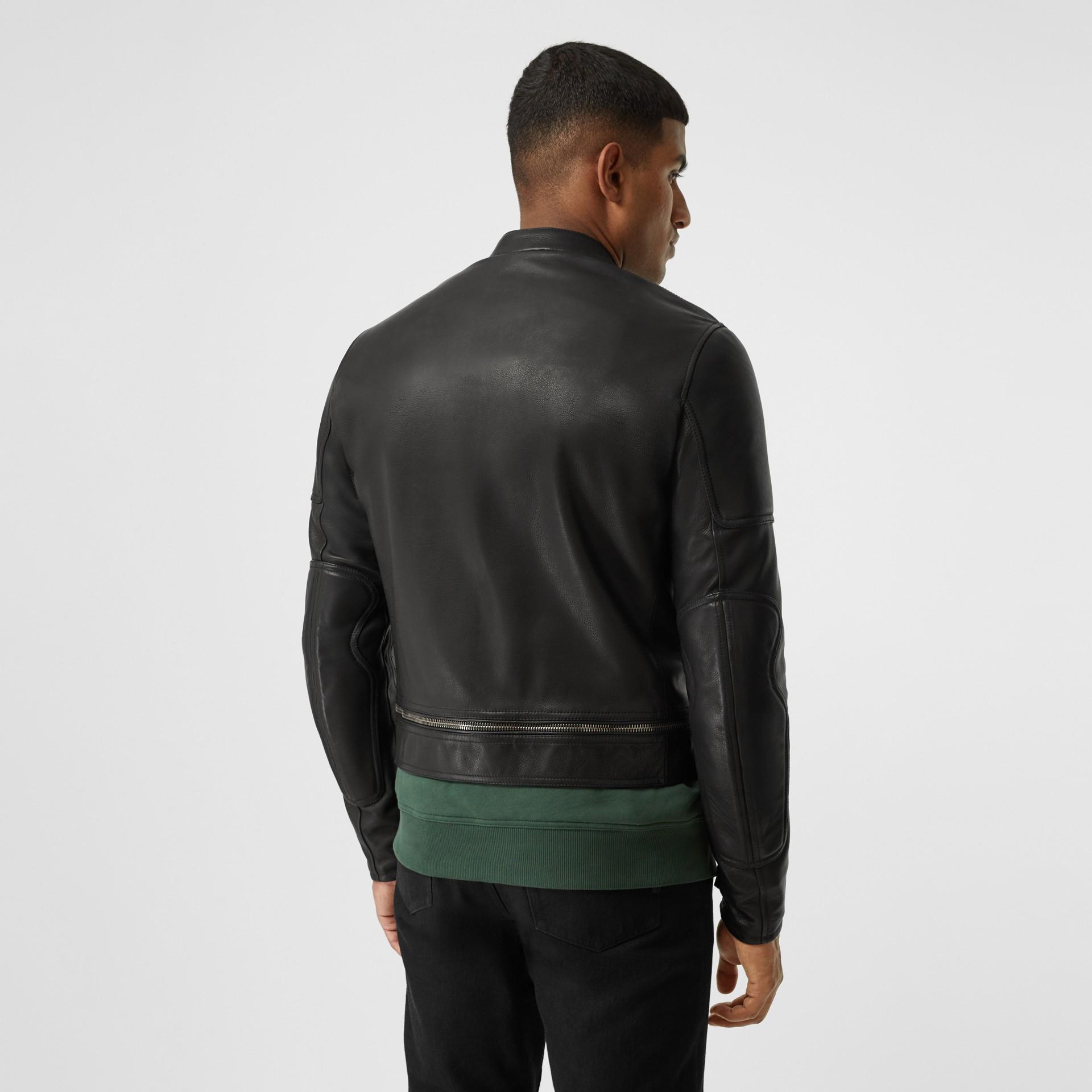 Logo Appliqué Leather Jacket in Black - Men | Burberry - gallery image 2