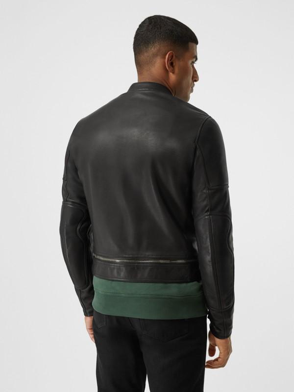 Logo Appliqué Leather Jacket in Black - Men | Burberry - cell image 2