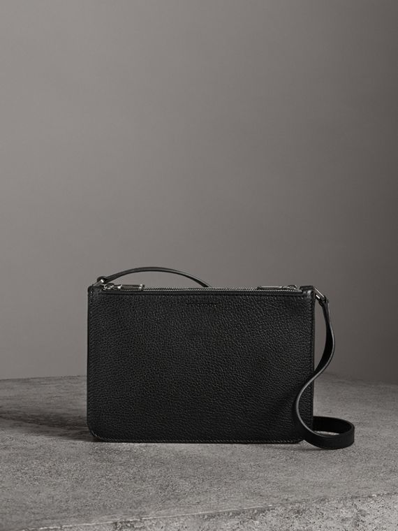 Triple Zip Grainy Leather Crossbody Bag in Black/silver