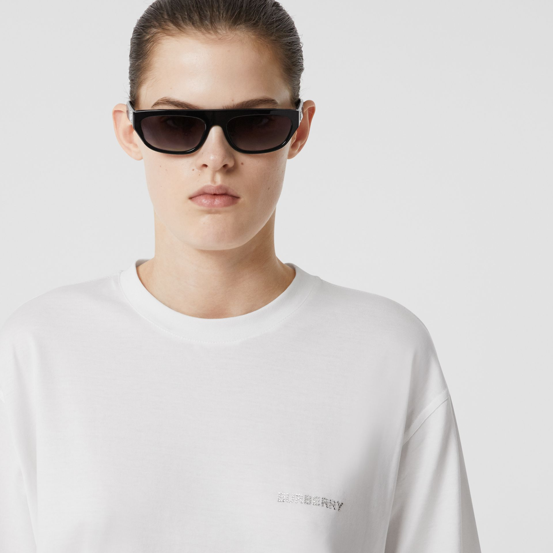 Crystal Monogram Motif Cotton Oversized T-shirt in White - Women | Burberry United Kingdom - gallery image 1