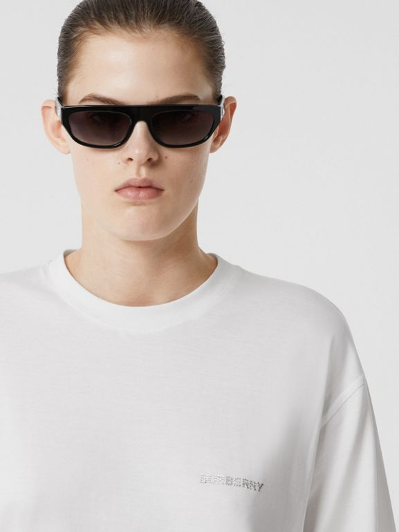 Crystal Monogram Motif Cotton Oversized T-shirt in White - Women | Burberry United Kingdom - cell image 1