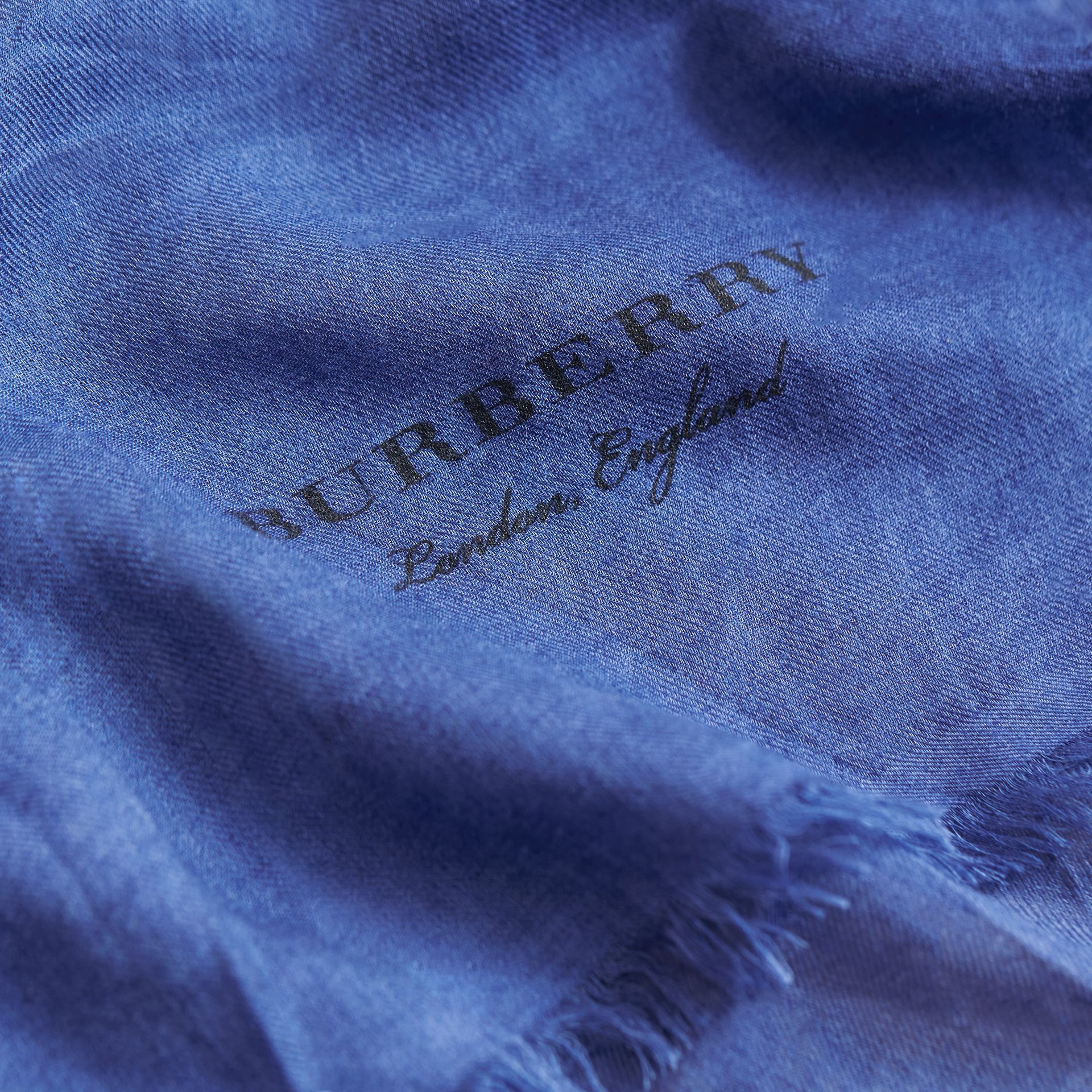 Lightweight Overdyed Modal Wool Scarf in Bright Cornflower - Men | Burberry - gallery image 1