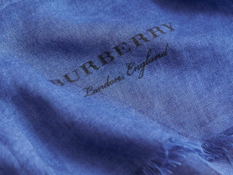 Lightweight Overdyed Modal Wool Scarf in Bright Cornflower | Burberry - cell image 1