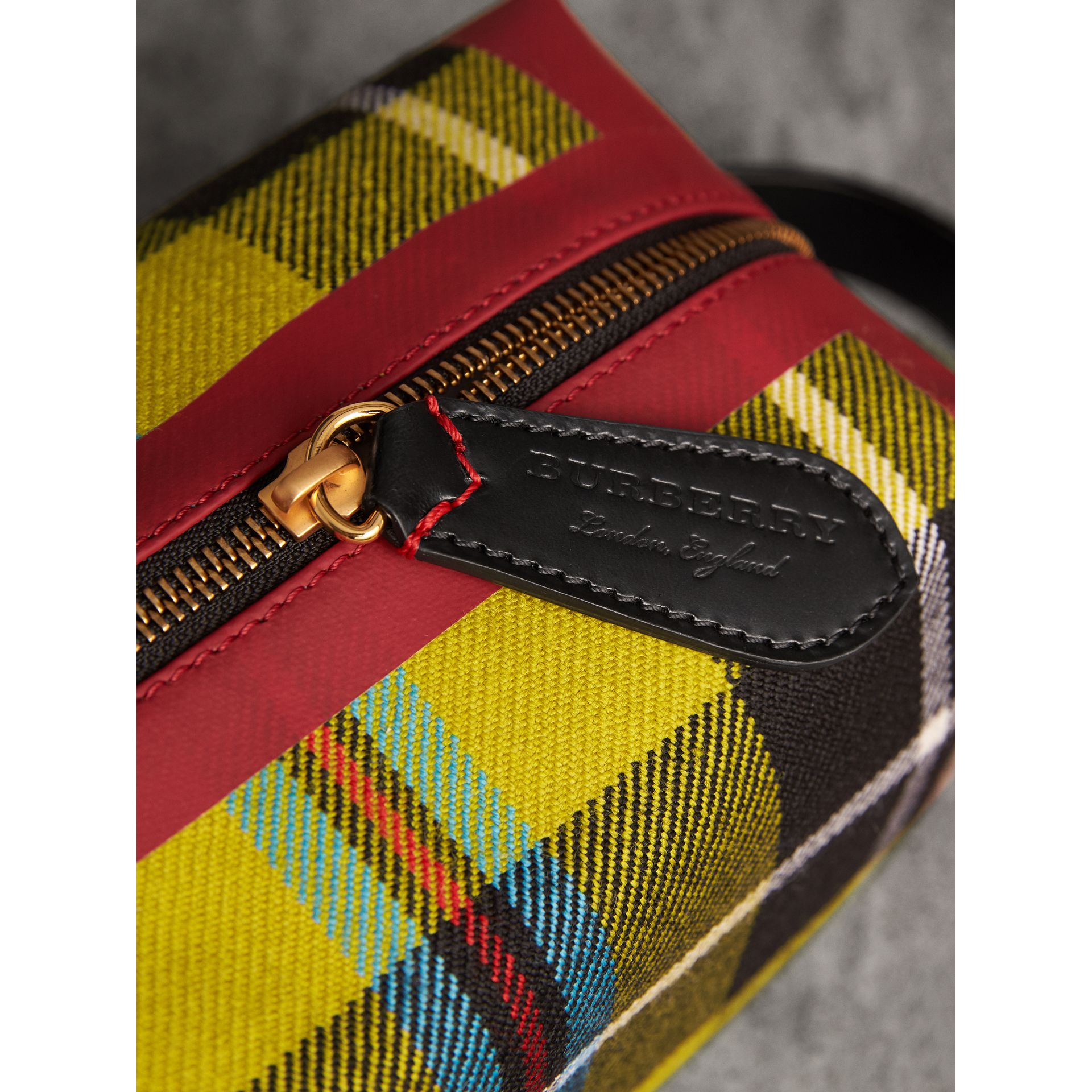 Tartan Cotton Pouch in Ochre Yellow | Burberry Australia - gallery image 1
