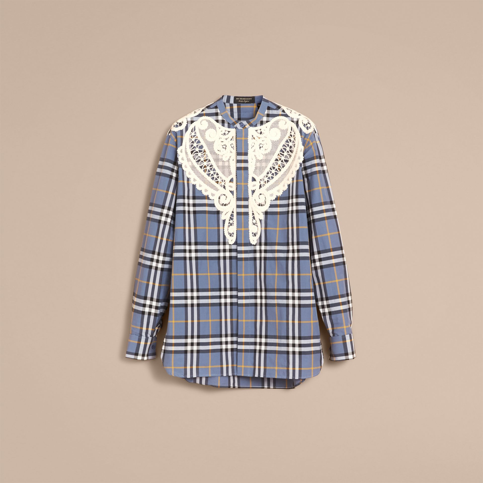 Lace Appliqué Check Cotton Shirt - Men | Burberry - gallery image 4