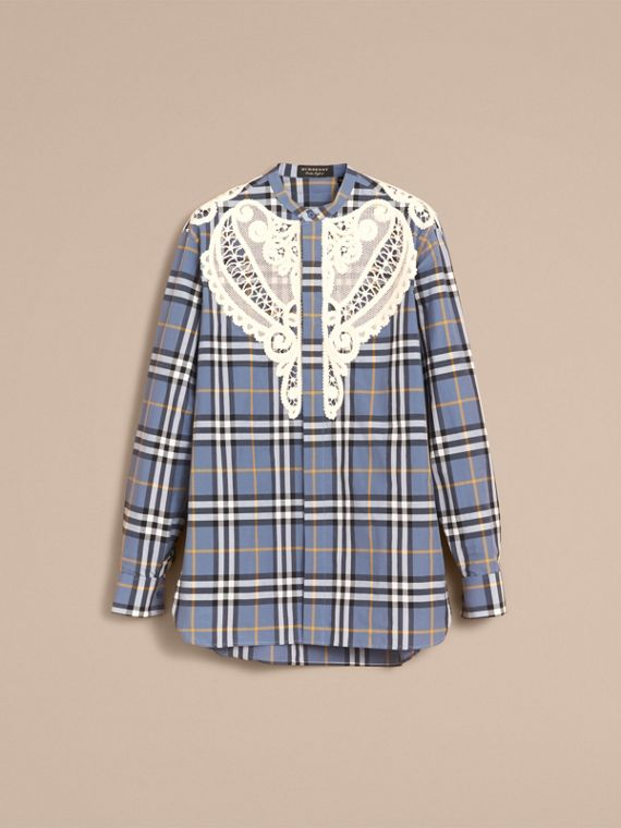 Lace Appliqué Check Cotton Shirt in Pewter Blue - Men | Burberry - cell image 3