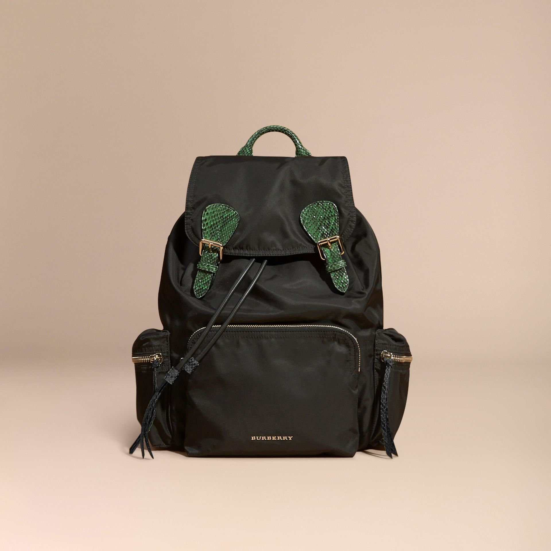 Black/bright green The Large Rucksack in Technical Nylon and Snakeskin Black/bright Green - gallery image 9