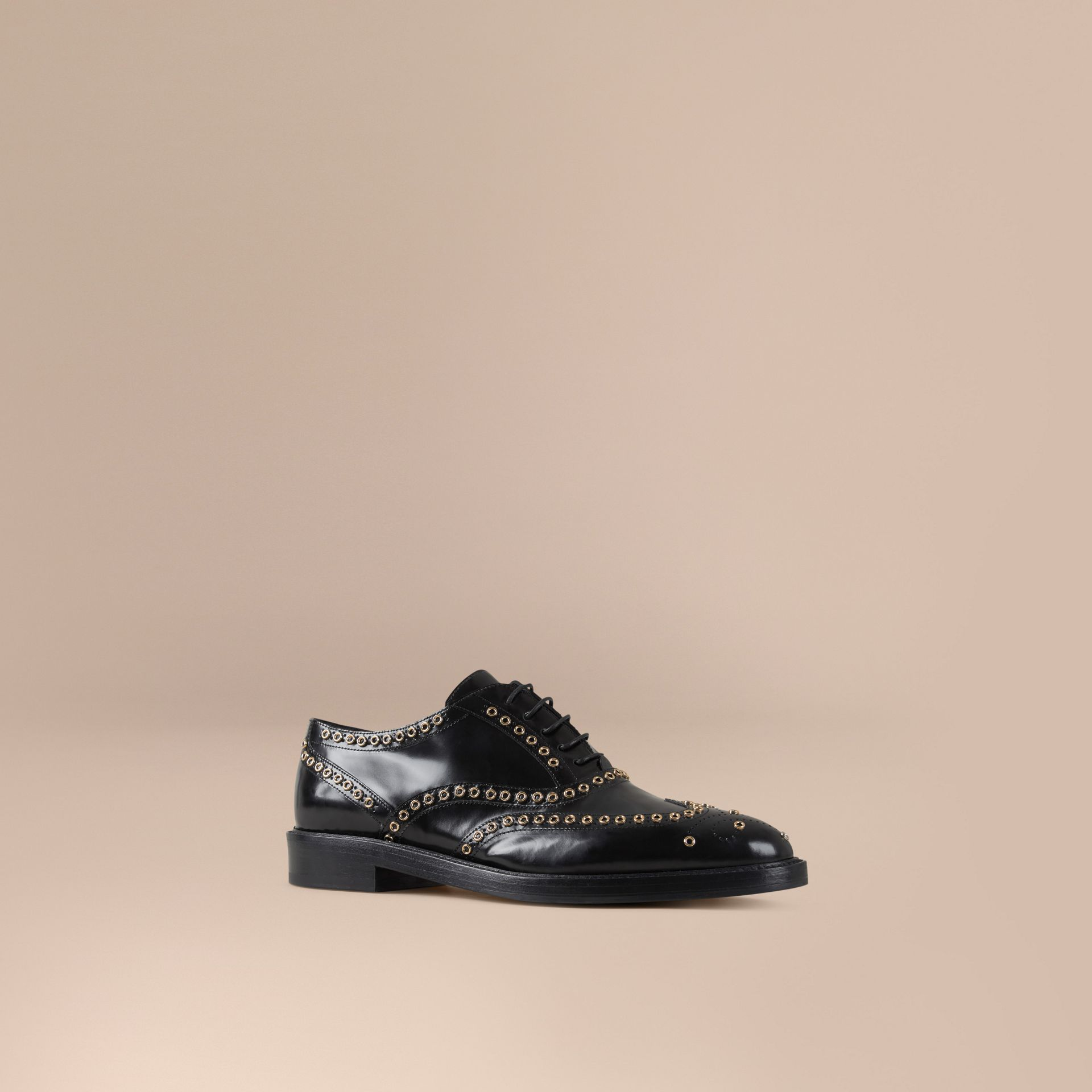 Black Online Exclusive Eyelet Detail Leather Wingtip Brogues - gallery image 1