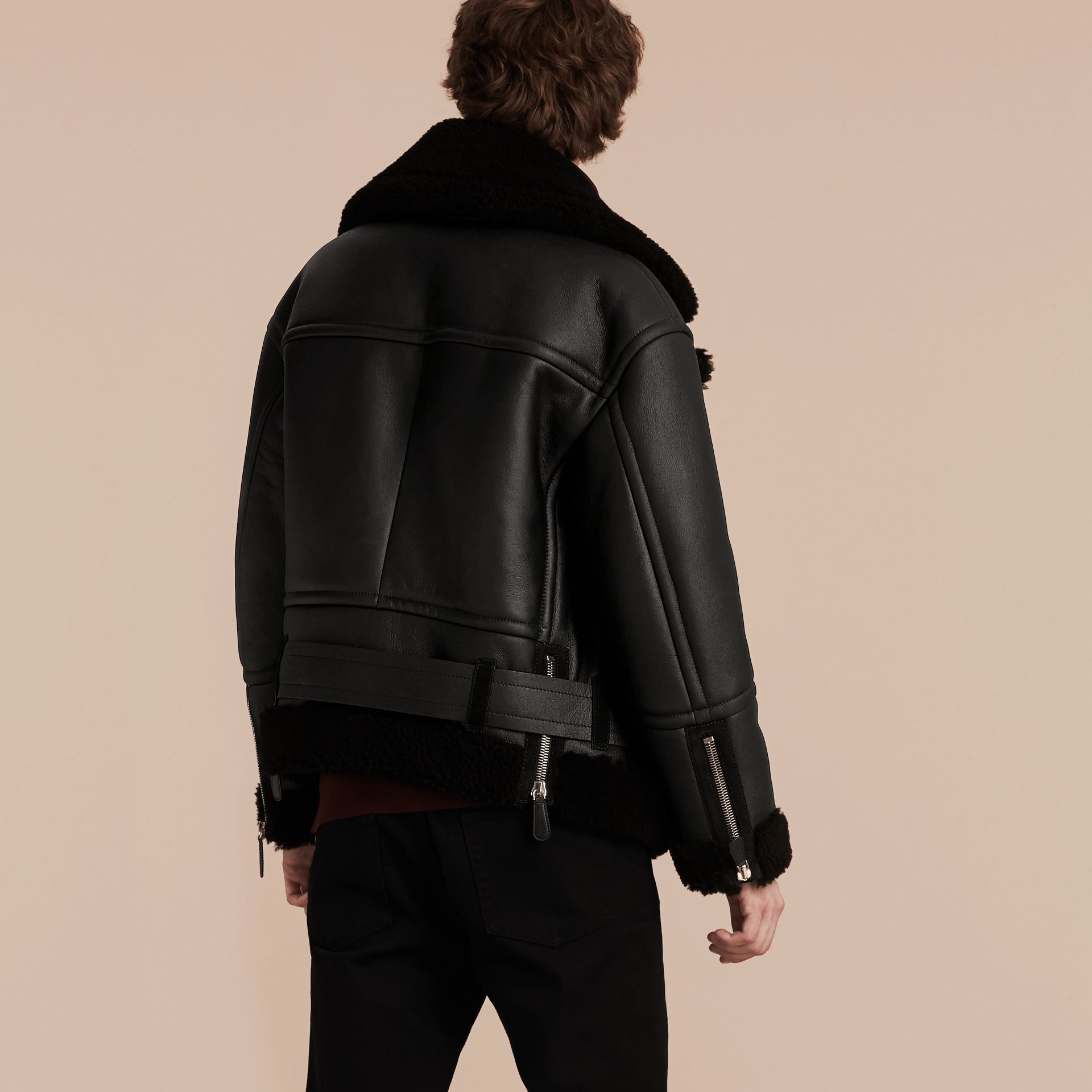 Black Oversize Shearling Flight Jacket - gallery image 3