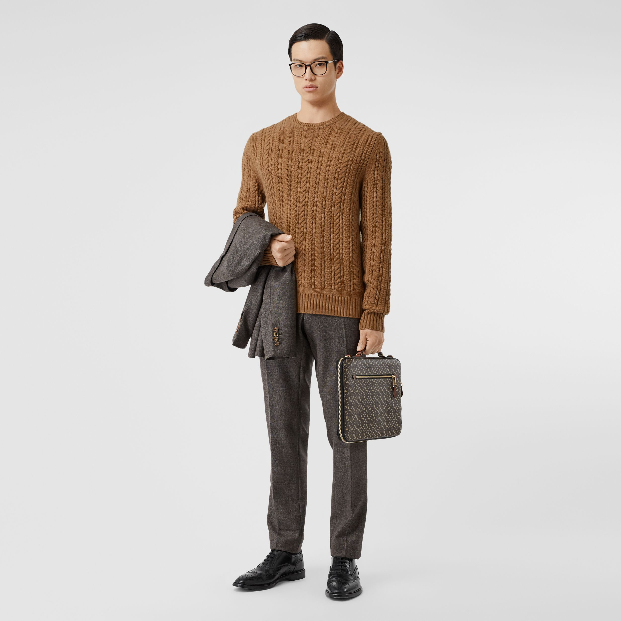 Cable Knit Cashmere Sweater in Maple - Men | Burberry Canada - 1