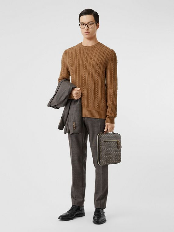 Cable Knit Cashmere Sweater in Maple