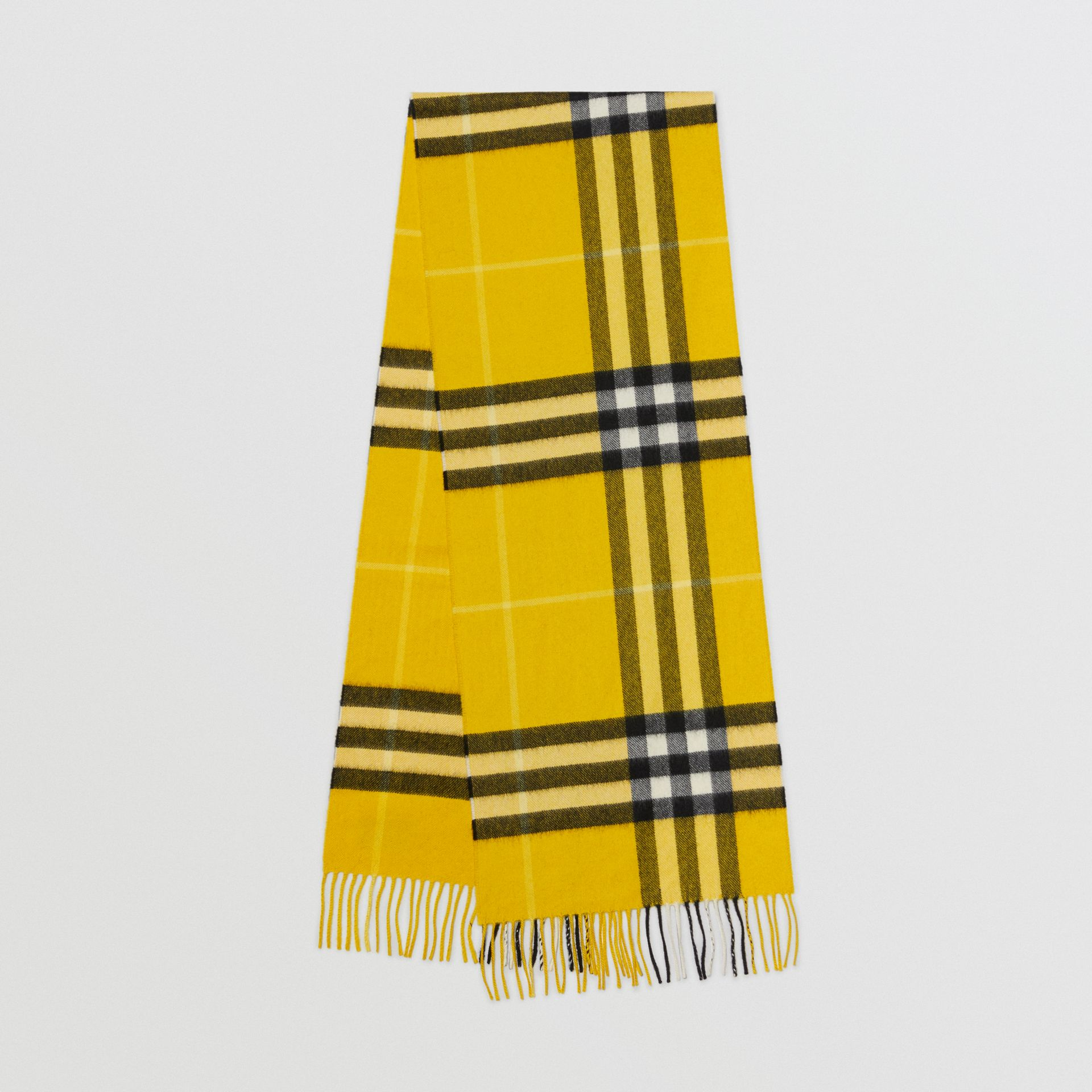The Classic Check Cashmere Scarf in Gorse Yellow | Burberry - gallery image 0
