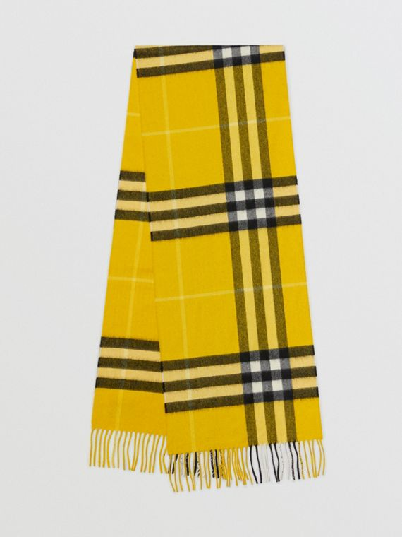 The Classic Check Cashmere Scarf in Gorse Yellow