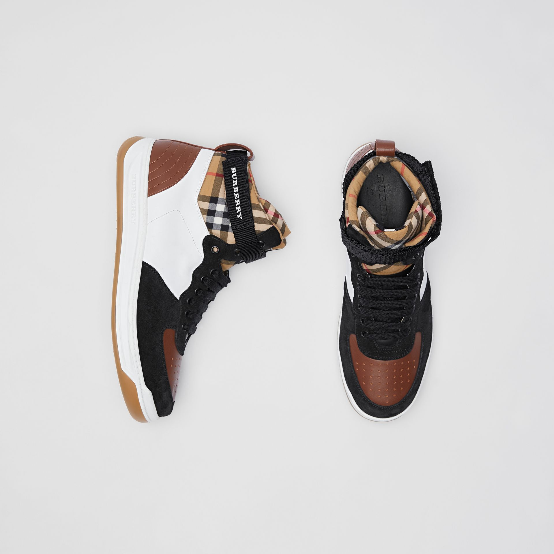 Leather and Suede High-top Sneakers in Optic White/camel - Men | Burberry Singapore - gallery image 0