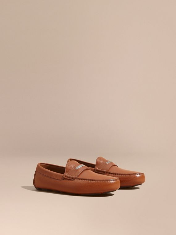 Leather Loafers with Engraved Check Detail