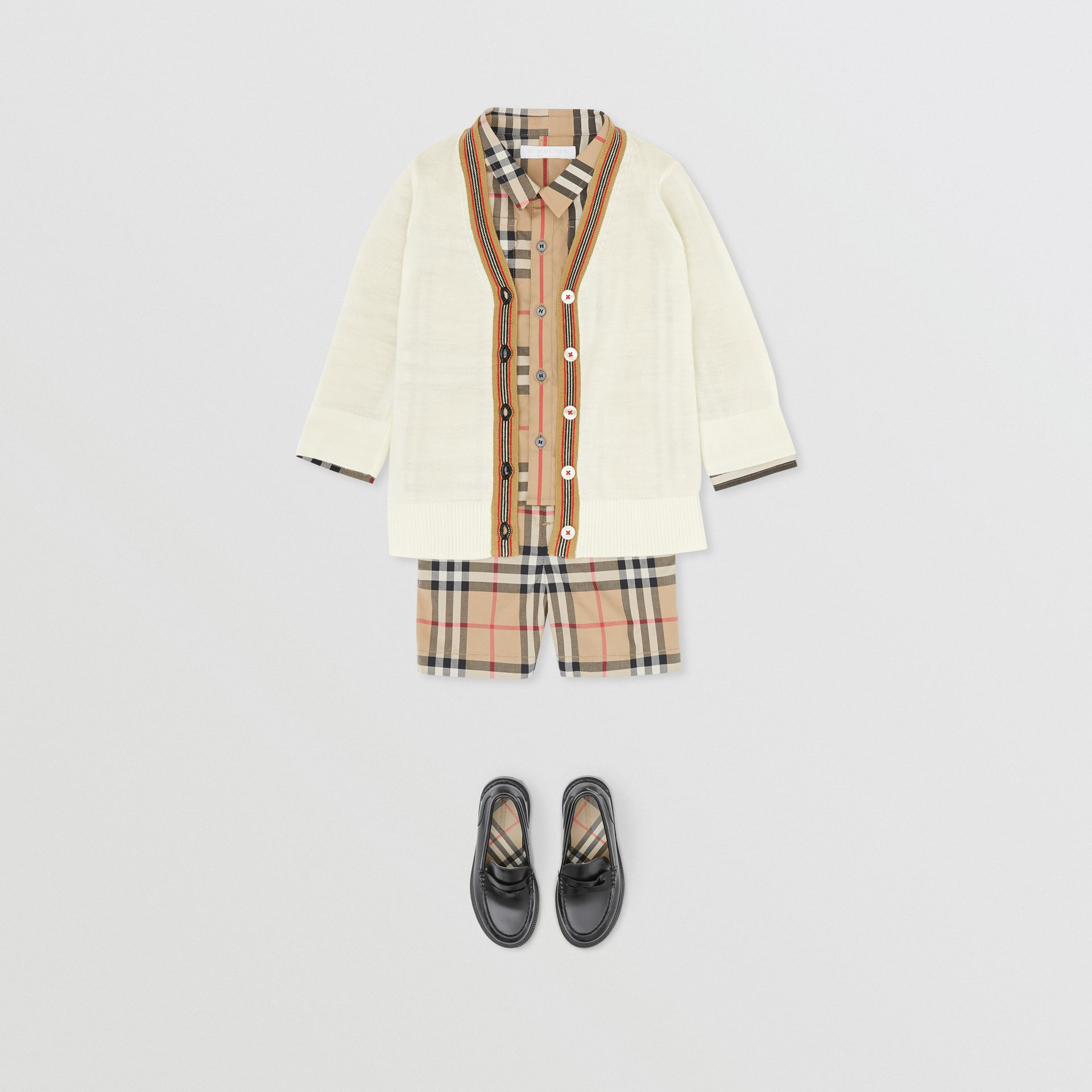 Icon Stripe Detail Merino Wool Cardigan in Ivory - Children | Burberry Canada - gallery image 3