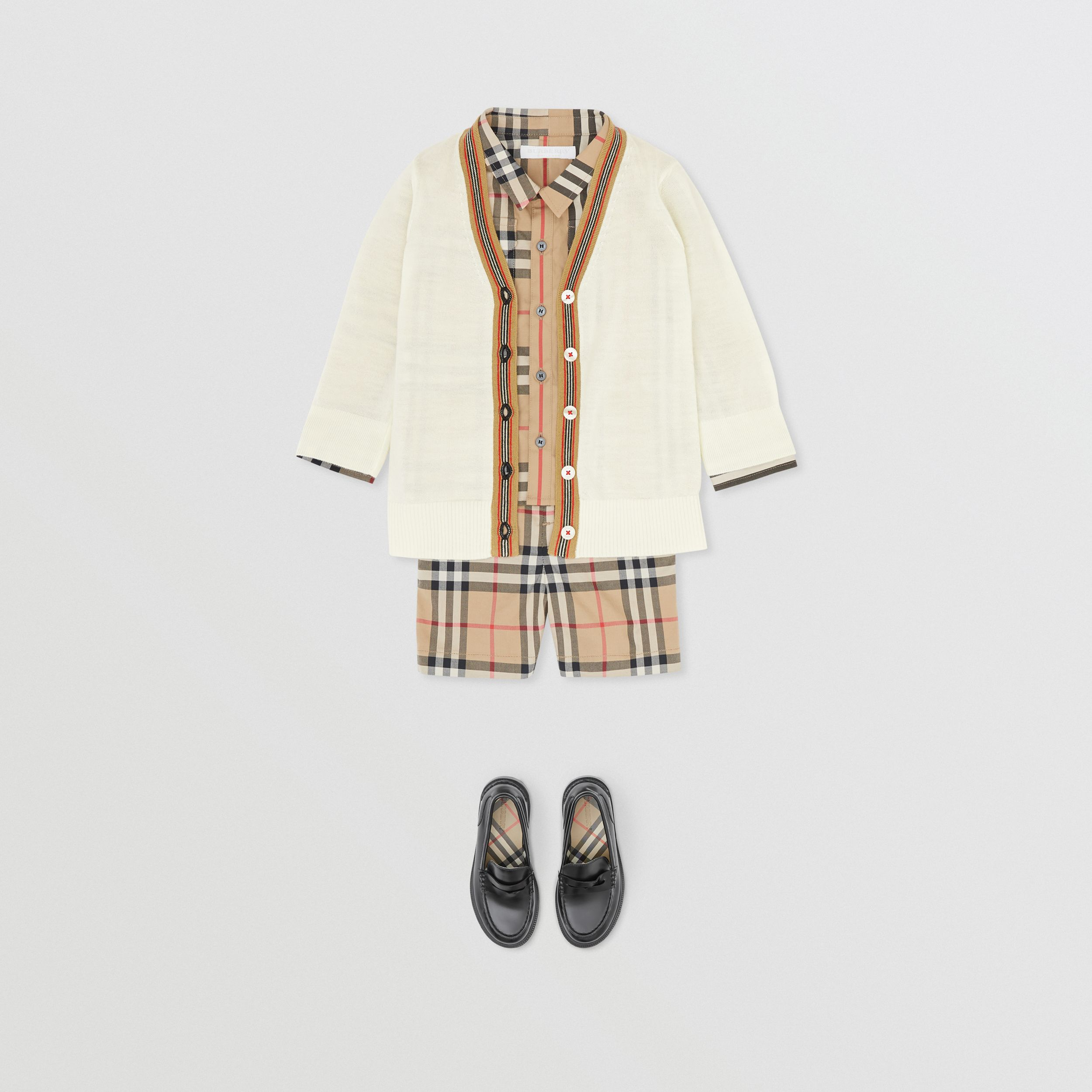 Icon Stripe Detail Merino Wool Cardigan in Ivory - Children | Burberry United Kingdom - 4