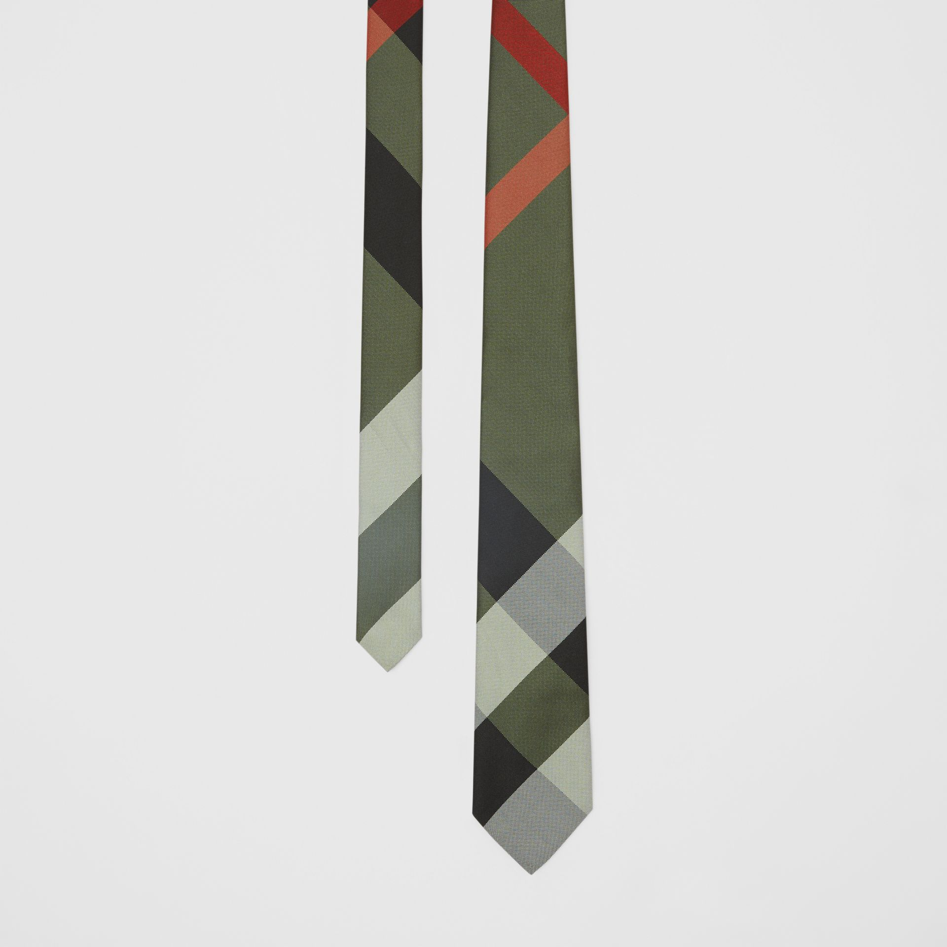 Modern Cut Oversized Check Silk Tie in Utility Green - Men | Burberry - gallery image 0
