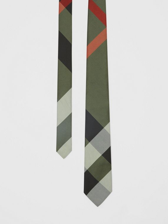 Modern Cut Oversized Check Silk Tie in Utility Green