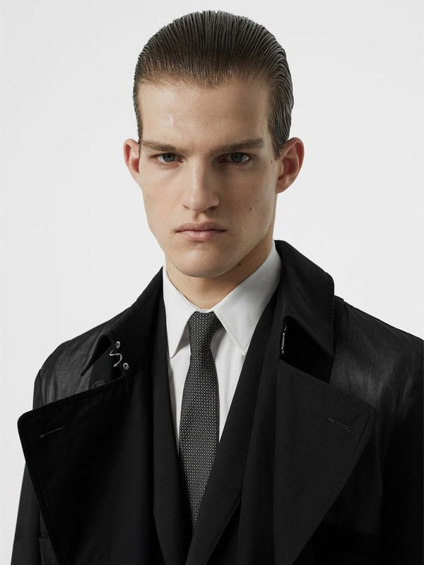 Classic Cut Micro Dot Silk Jacquard Tie in Black - Men | Burberry - cell image 2