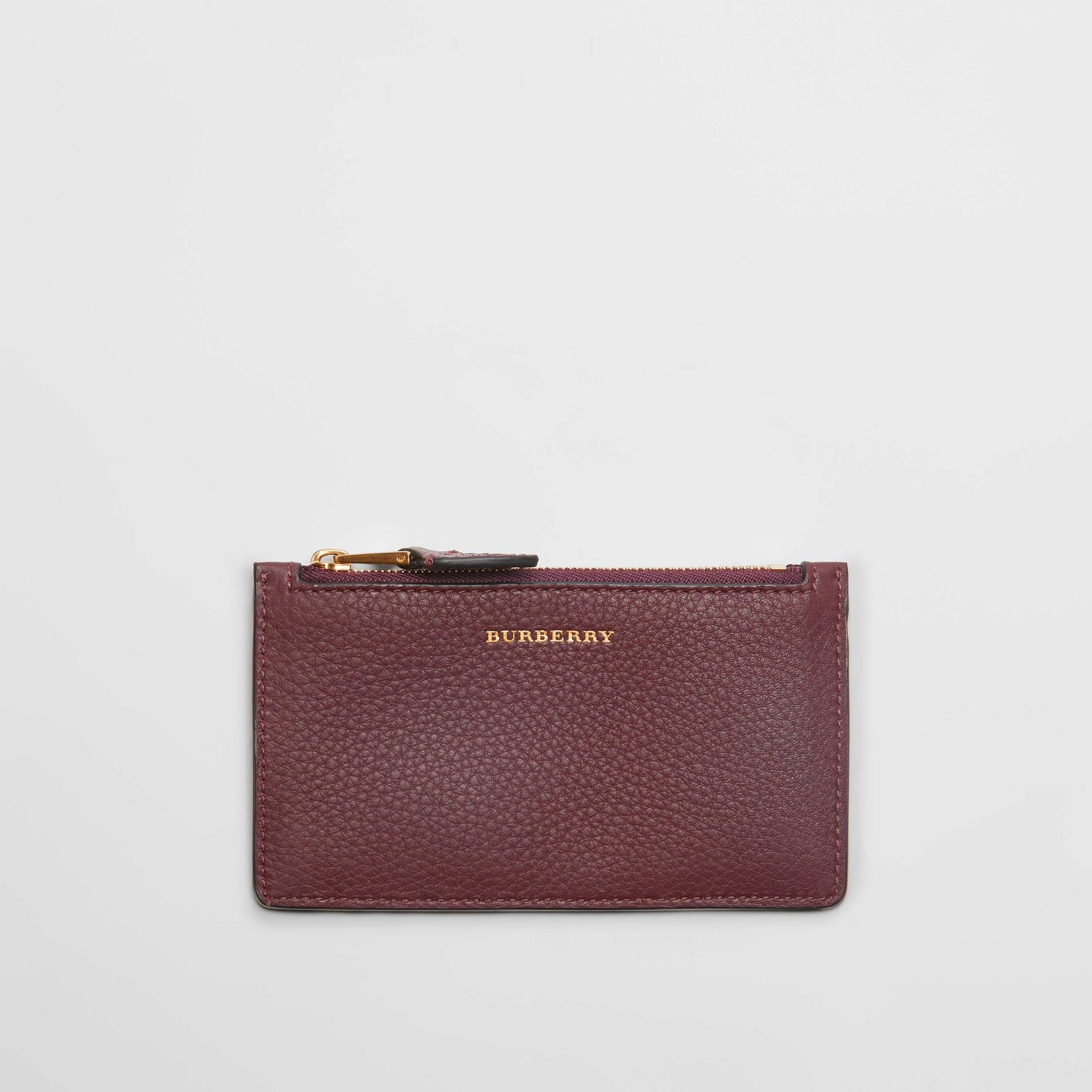 Two-tone Leather Zip Card Case in Deep Claret | Burberry Australia - gallery image 0