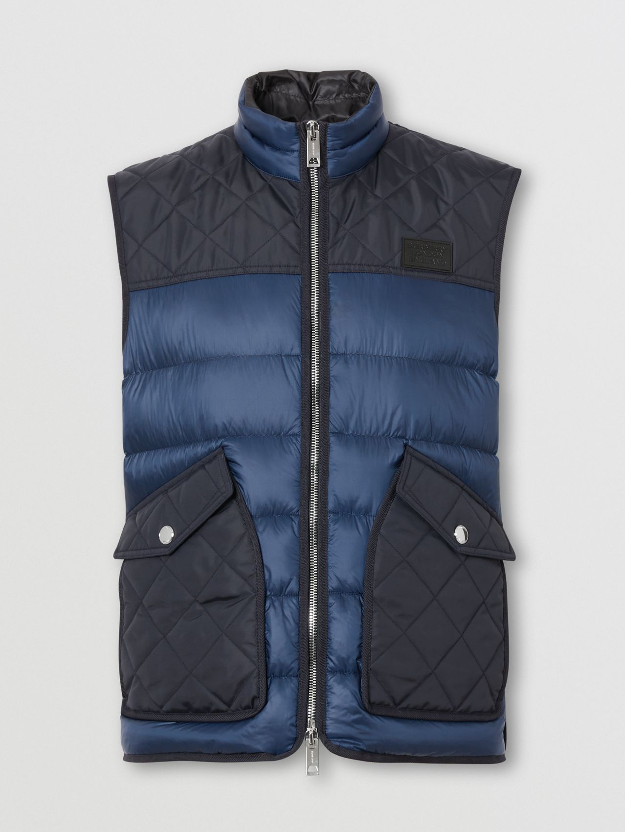 Logo Appliqué Lightweight Puffer Gilet in Ink Blue