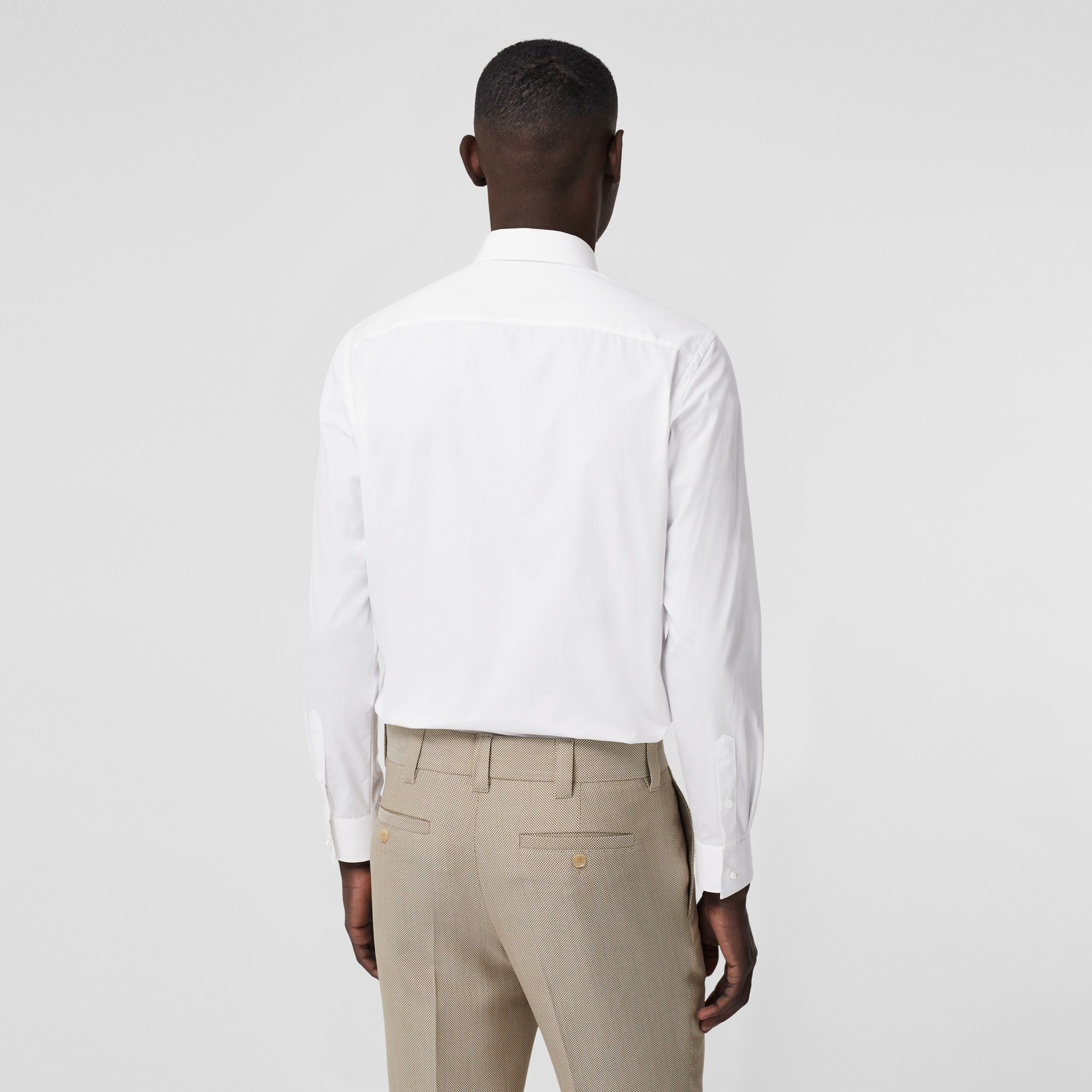 Resin Pearl Detail Cotton Poplin Dress Shirt in White - Men | Burberry - 3