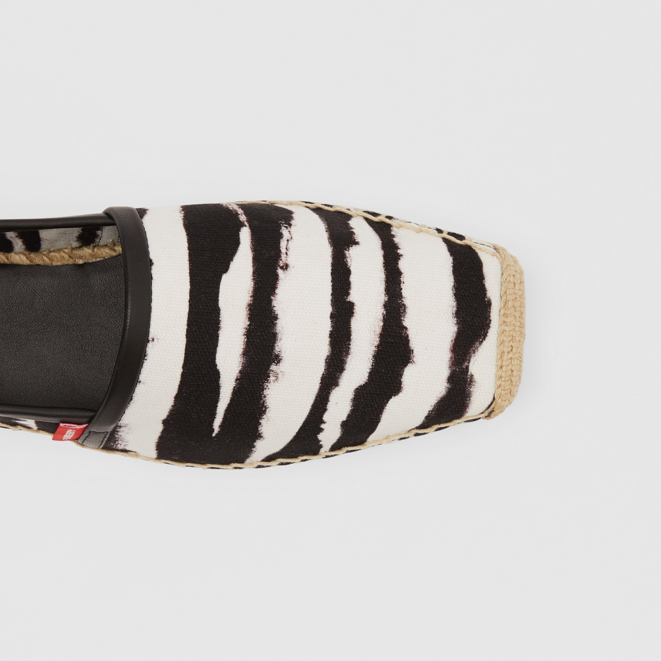 Watercolour Print Cotton Canvas Espadrilles in Black/white - Women | Burberry Hong Kong S.A.R. - 2