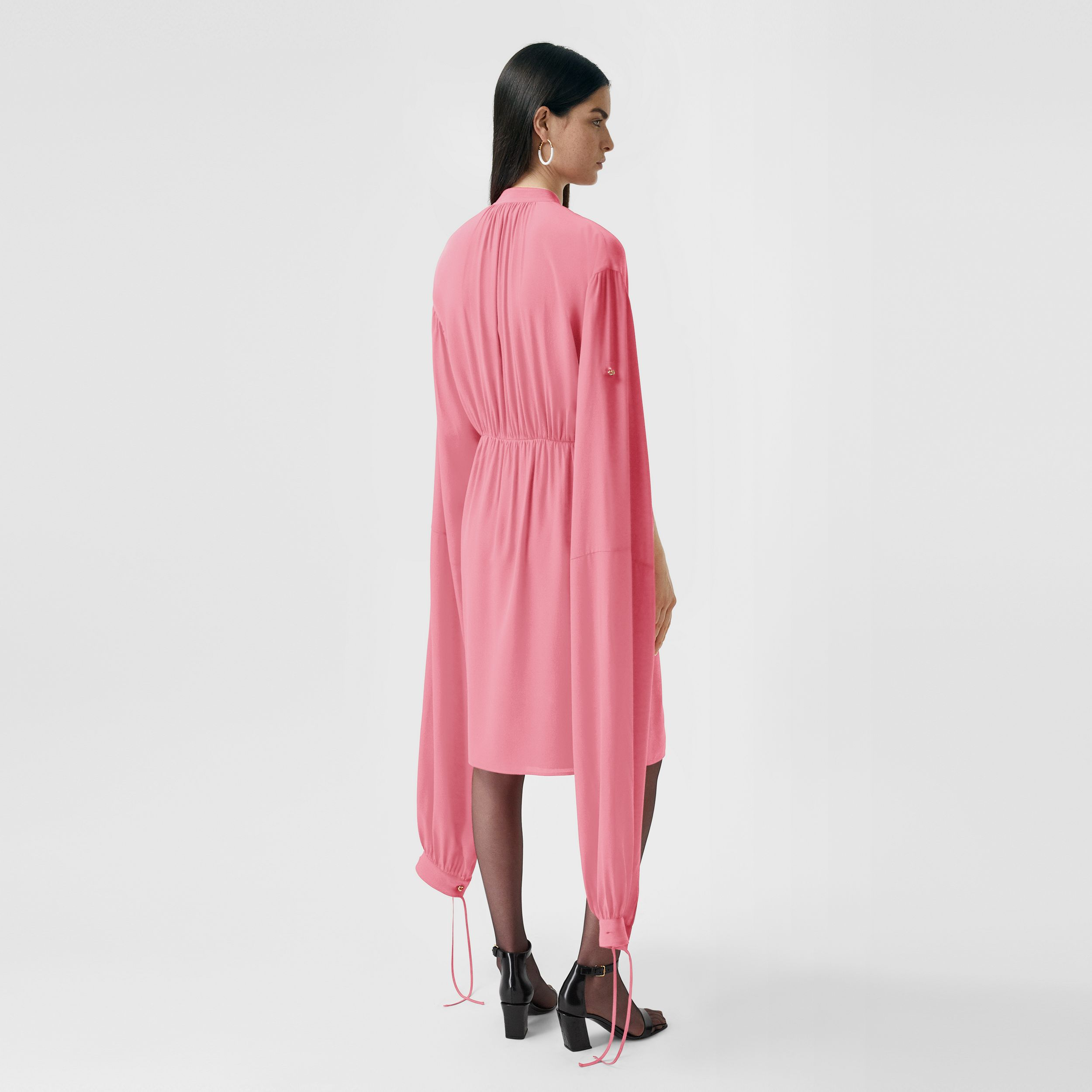Loop-back Sleeve Silk Crepe De Chine Dress in Bubblegum Pink - Women | Burberry Australia - 3