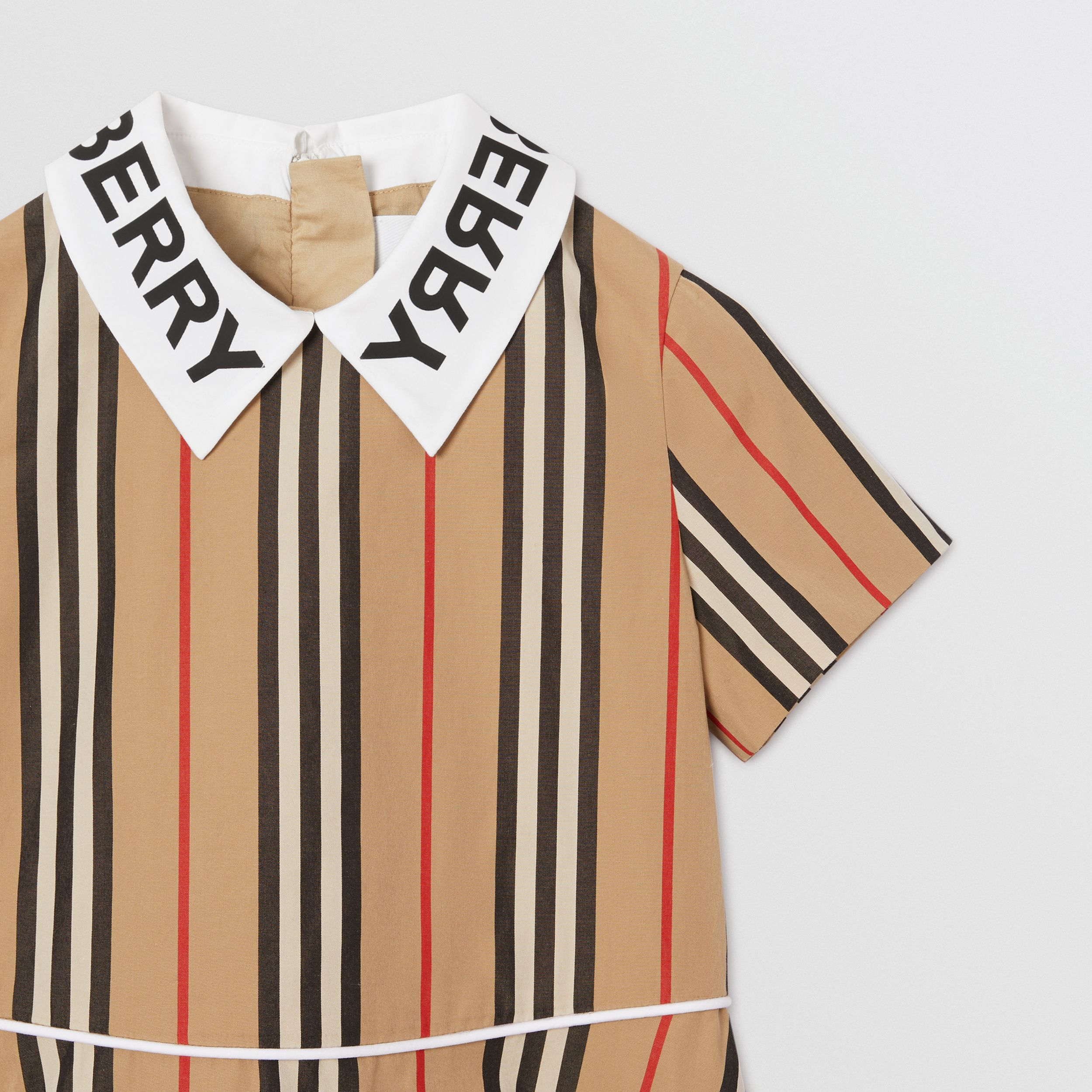 Logo Print Icon Stripe Cotton Poplin Dress in Archive Beige | Burberry Hong Kong S.A.R. - 4