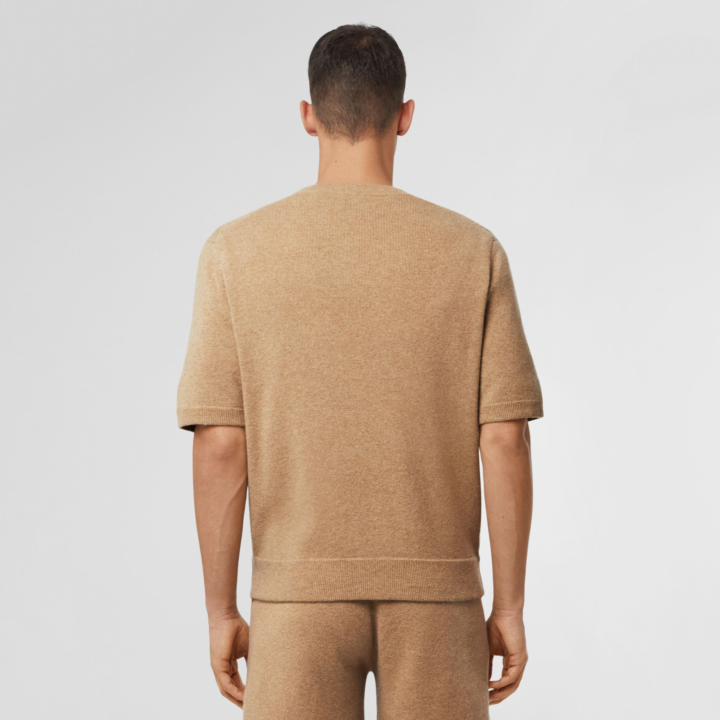 Short-sleeve Monogram Motif Cashmere Top in Pale Coffee - Men | Burberry - 3