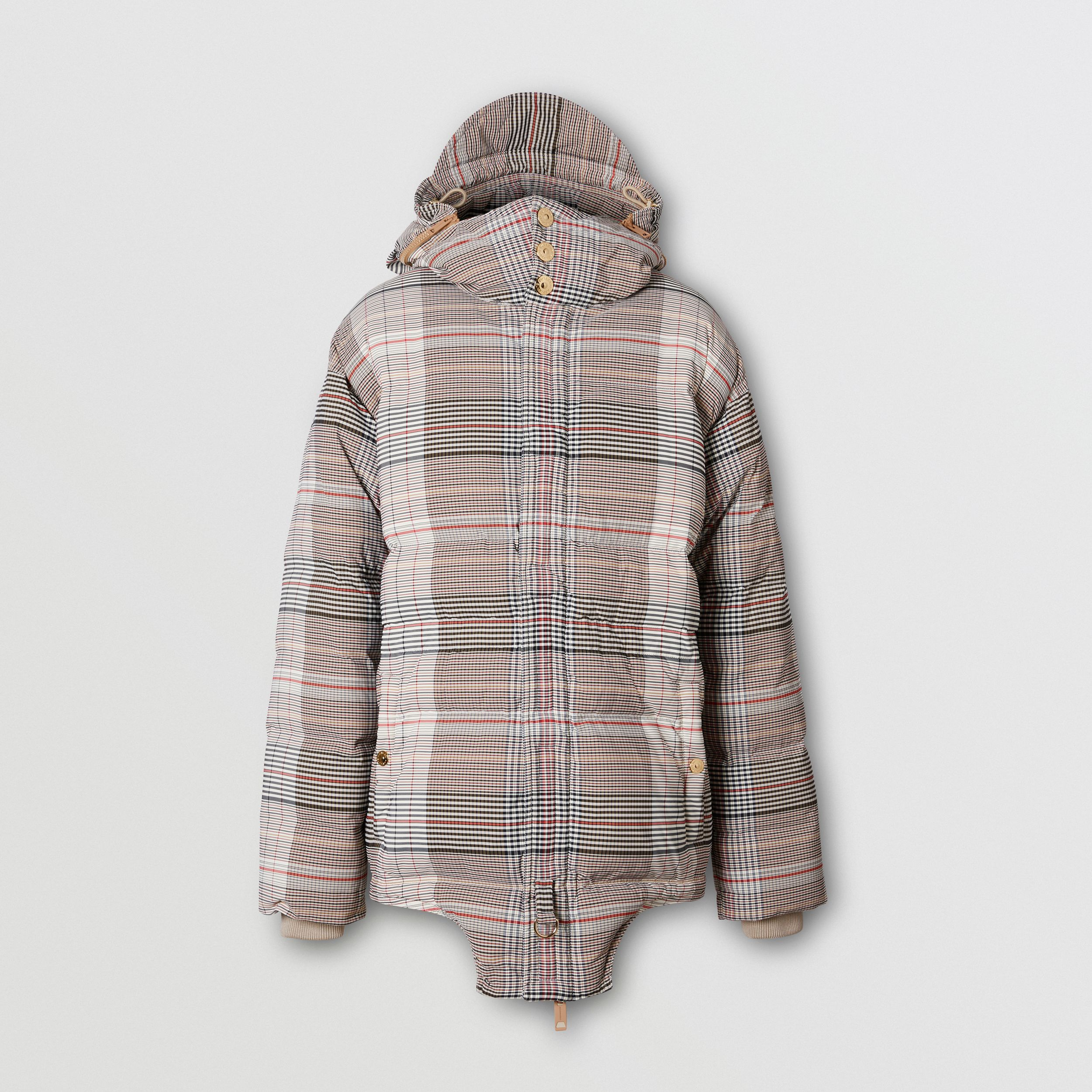 Cut-out Hem Check Nylon Twill Puffer Jacket in Beige | Burberry - 4