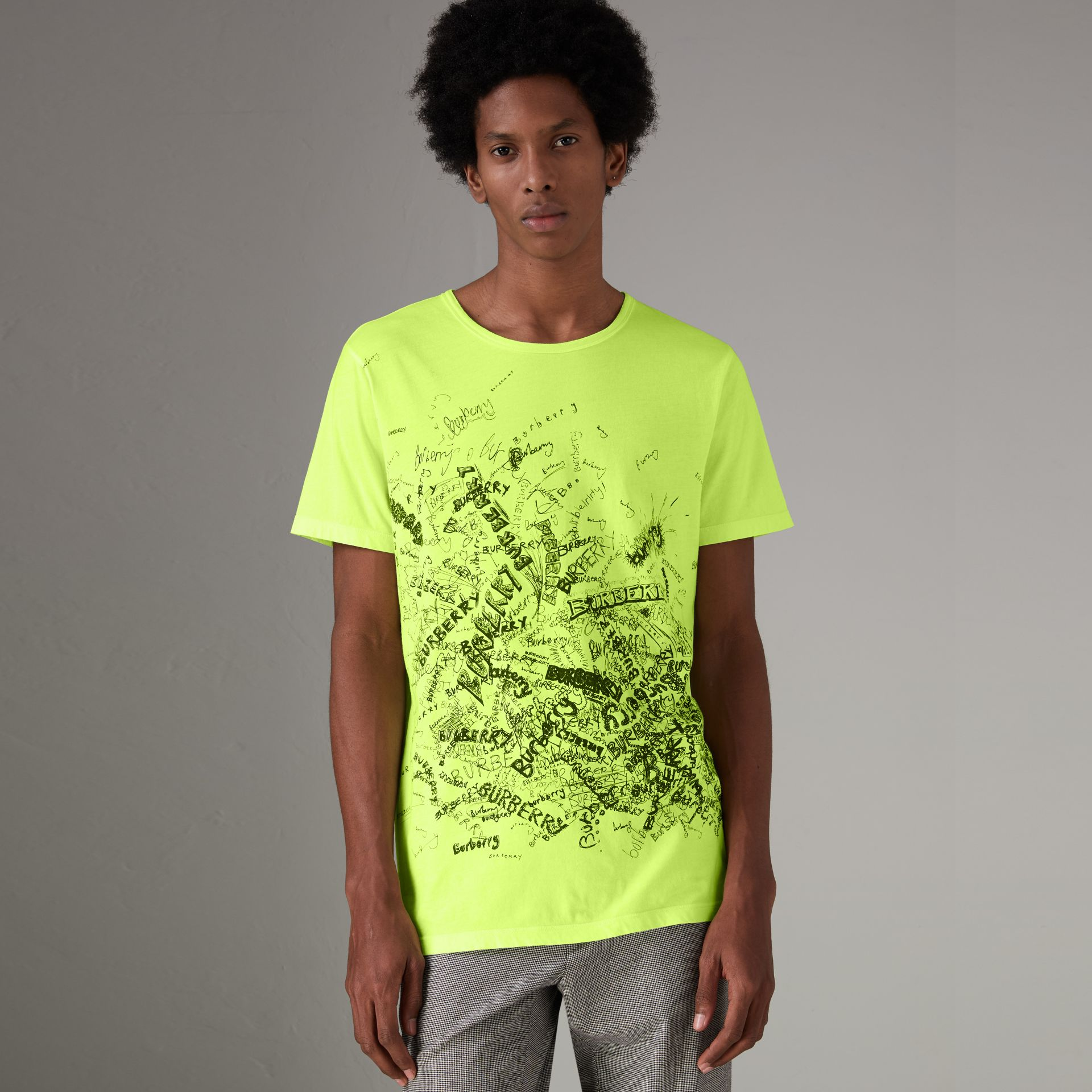 Doodle Print Cotton T-shirt in Bright Lemon - Men | Burberry - gallery image 0