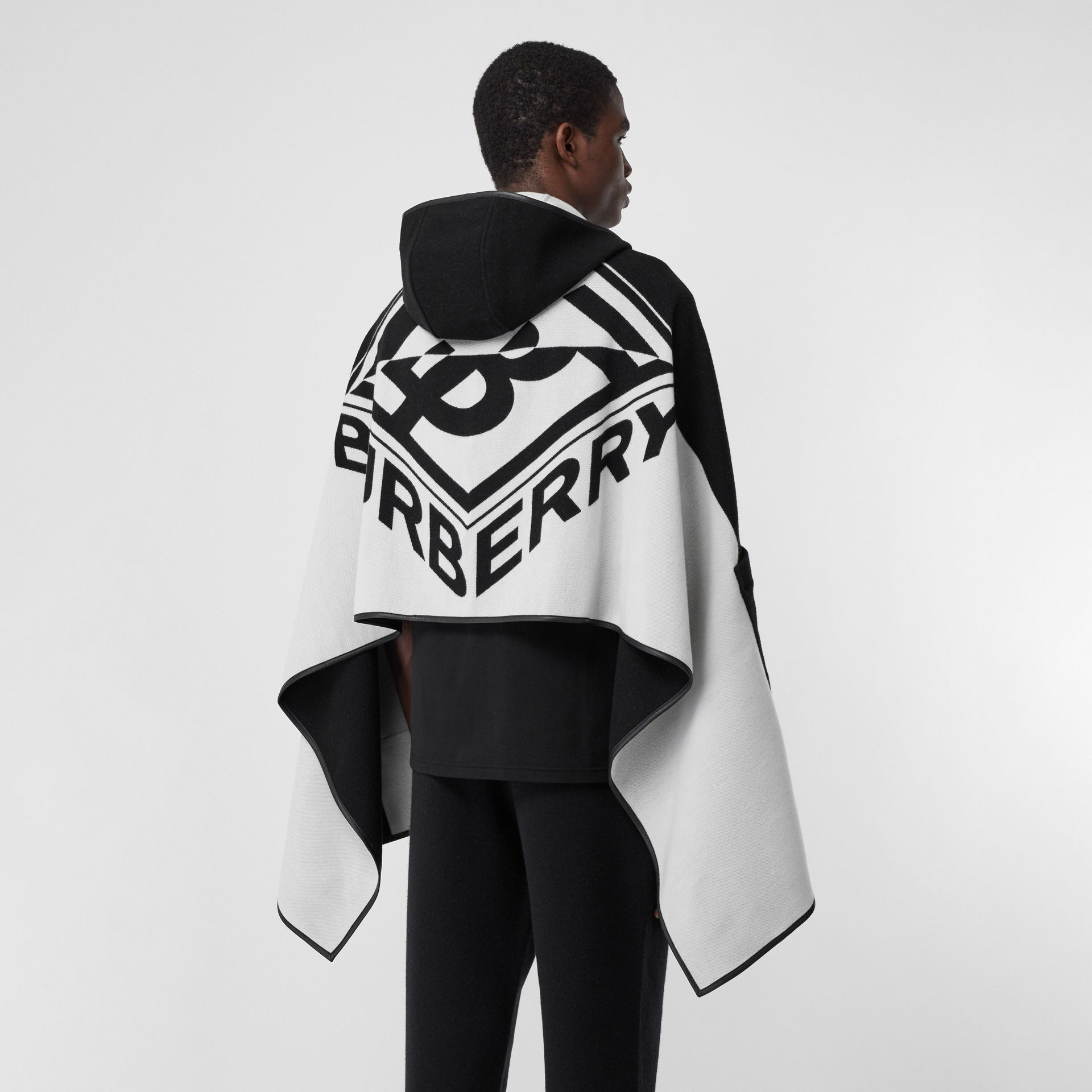 Logo Graphic Wool Cotton Jacquard Hooded Cape in Black/white | Burberry United States - gallery image 2