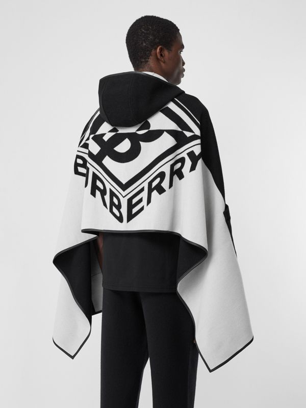 Logo Graphic Wool Cotton Jacquard Hooded Cape in Black/white | Burberry United States - cell image 2