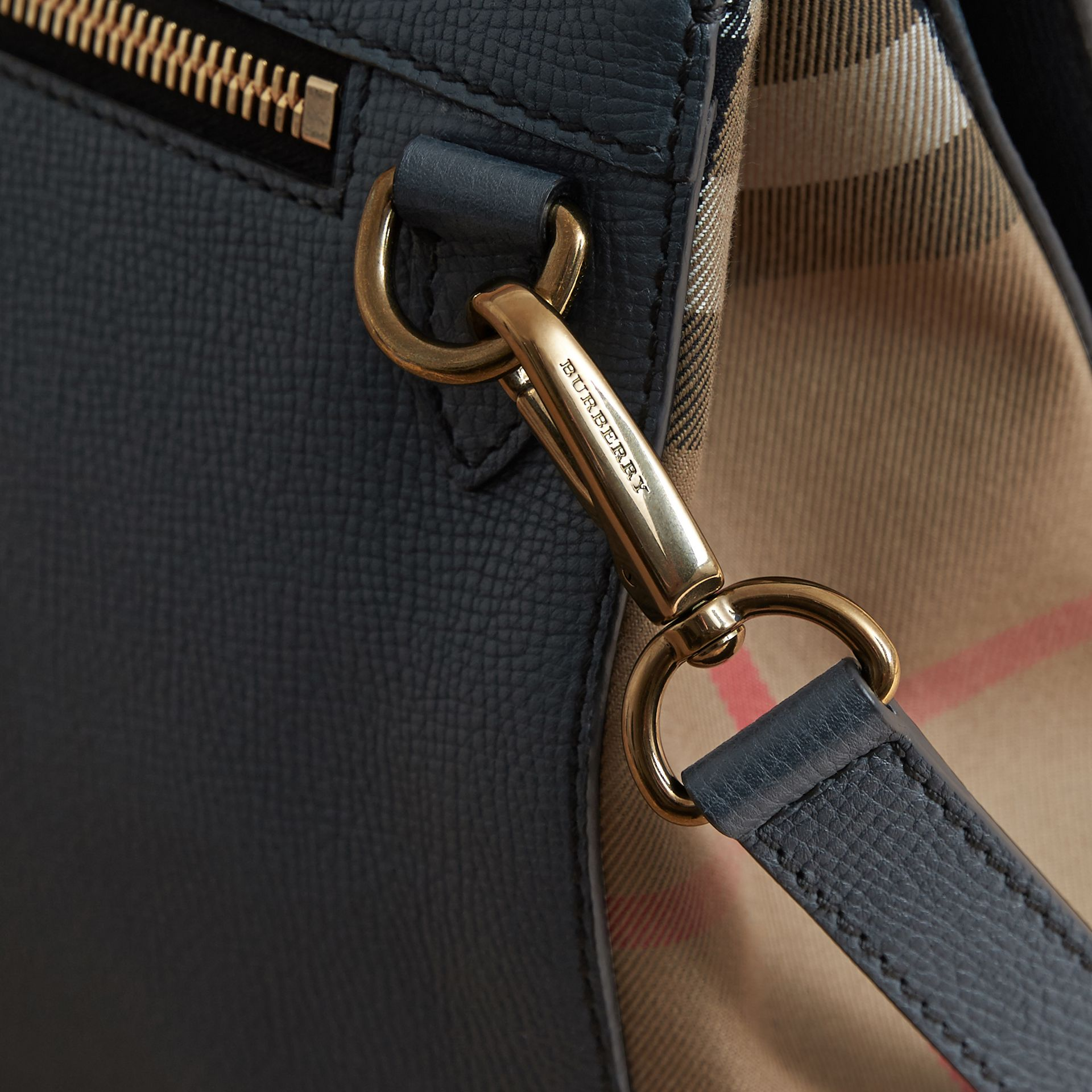 Leather and House Check Satchel in Storm Blue - Men | Burberry - gallery image 7