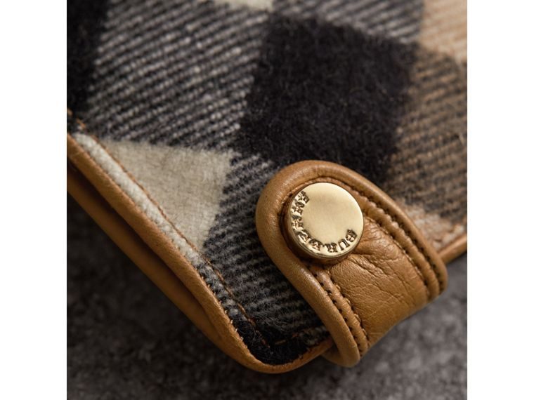 Leather and Check Cashmere Gloves in Camel - Women | Burberry - cell image 1