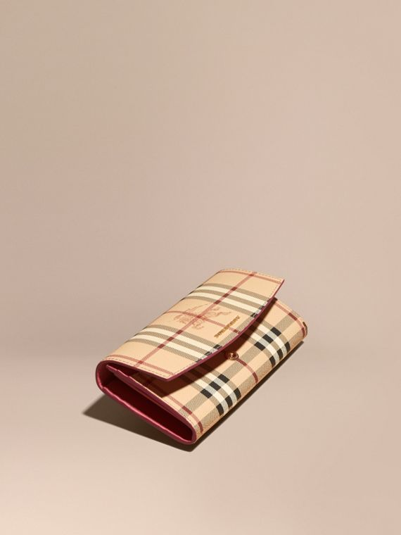 Haymarket Check and Leather Continental Wallet in Plum Pink - Women | Burberry