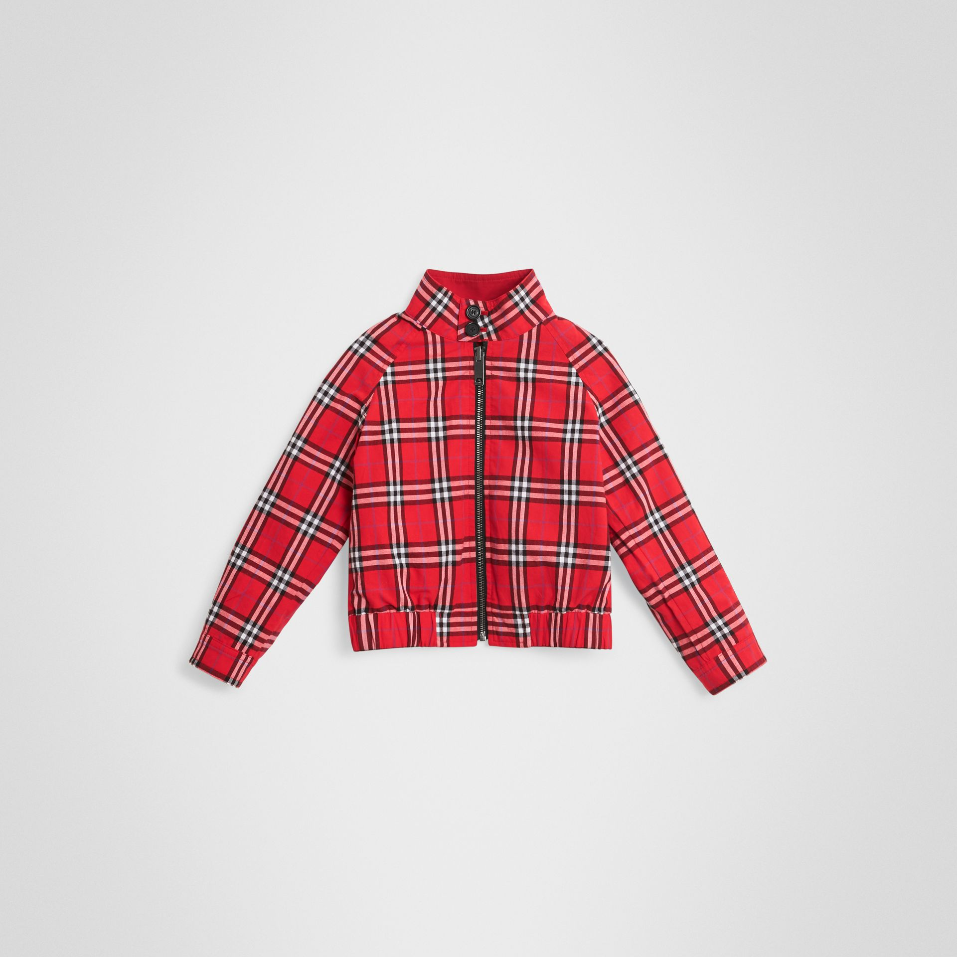 Reversible Check Cotton Harrington Jacket in Bright Red | Burberry - gallery image 4