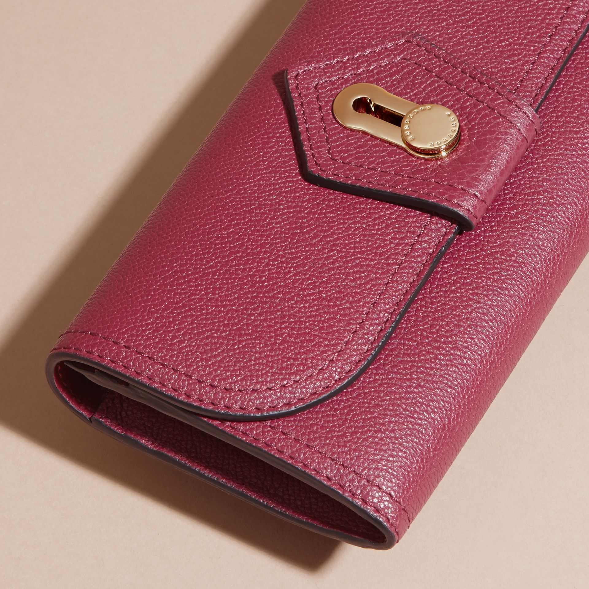 Dark plum Textured Leather Continental Wallet Dark Plum - gallery image 3