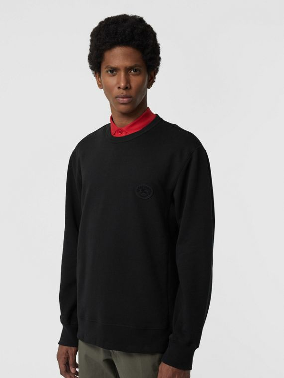 Embroidered Crest Cotton Sweatshirt in Black