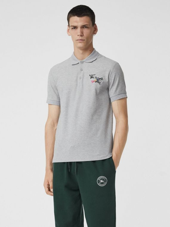 Triple Archive Logo Cotton Piqué Polo Shirt in Pale Grey Melange