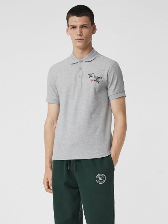 Polo en piqué de coton avec triple logo d'archive (Camaïeu  Gris Pâles)